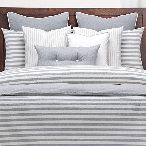 Hnu 6 Piece Farmhouse Down Alt Duvet Comforter Set King Classic Stripes Modern Contemporary Elegant Luxury Grey White Farmhouse Goals