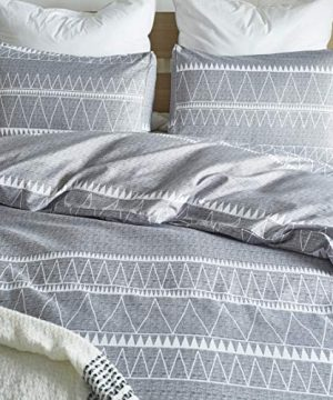 HYPREST Bohemian Queen Duvet Cover Set Lightweight Soft Grey Triangle 3PC Comforter Cover Set Hotel Quality Queen 0 1 300x360
