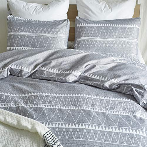 HYPREST Bohemian Queen Duvet Cover Set Lightweight Soft Grey Triangle 3PC Comforter Cover Set Hotel Quality Queen 0 1