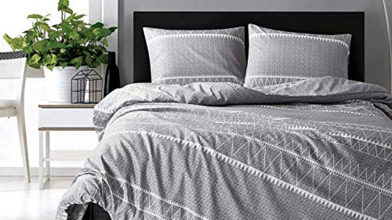 Hyprest Bohemian Queen Duvet Cover Set Lightweight Soft Grey Triangle 3pc Comforter Cover Set Hotel Quality Bedding Set Farmhouse Goals