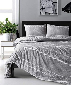 HYPREST Bohemian Queen Duvet Cover Set Lightweight Soft Grey Triangle 3PC Comforter Cover Set Hotel Quality Queen 0 300x360