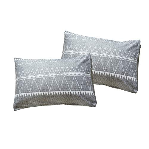HYPREST Bohemian Queen Duvet Cover Set Lightweight Soft Grey Triangle 3PC Comforter Cover Set Hotel Quality Queen 0 5