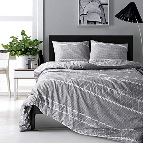 HYPREST Bohemian Queen Duvet Cover Set Lightweight Soft Grey Triangle 3PC Comforter Cover Set Hotel Quality Queen 0