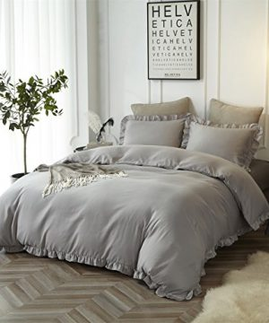 HYPREST Queen Duvet Cover Set Micorfiber Lightweight Soft Solid Color 3PC Bedding Set With Exquisite Flouncing Light Grey 0 0 300x360