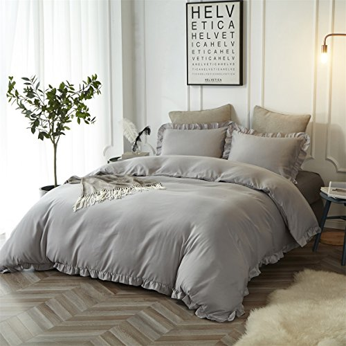 HYPREST Queen Duvet Cover Set Micorfiber Lightweight Soft Solid Color 3PC Bedding Set With Exquisite Flouncing Light Grey 0 0