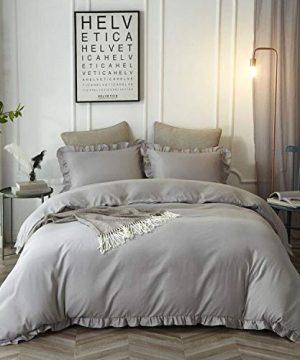 HYPREST Queen Duvet Cover Set Micorfiber Lightweight Soft Solid Color 3PC Bedding Set With Exquisite Flouncing Light Grey 0 300x360