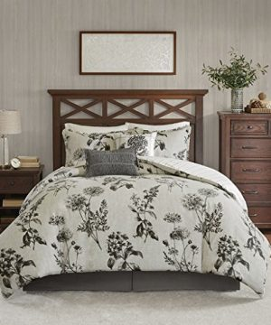Harbor House Nellie 6 Piece Oversized Cotton Comforter Set Bedding King Size Grey 0 300x360