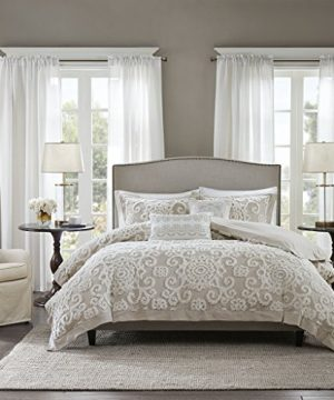 Harbor House Suzanna Duvet Cover King Size Taupe Medallion Duvet Cover Set 3 Piece Cotton Light Weight Bed Comforter Covers 0 300x360