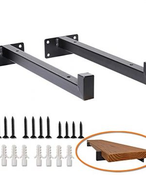 Heavy Duty Industrial Shelf Brackets 10 Floating Metal Shelving Supports With Lip Wall Mounted Retro Shelves Hardware Brace For DIY Decor Or Custom Wall Shelving 2 Pack Black 0 300x360