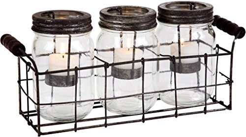 Home Essentials 4543 Mason Jars Votive With Metal Rack In GB Set Of 3 Clear 0