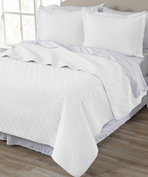 Home-Fashion-Designs-3-Piece-All-Season-Quilt-Set-FullQueen-Size-Quilt-with-2-Shams-Soft-Microfiber-Bedspread-and-Coverlet-Emerson-Collection-White-0