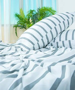 Homelike Collection 4 Piece Striped Bed Sheet Set Twin SizeWhiteGrey Classic Pattern Sheets 1 Flat Sheet1 Fitted Sheet And 2 Pillow CasesBrushed Microfiber Luxury Bedding With Deep Pockets 0 0 300x360