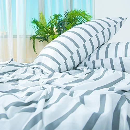 Homelike Collection 4 Piece Striped Bed Sheet Set Twin SizeWhiteGrey Classic Pattern Sheets 1 Flat Sheet1 Fitted Sheet And 2 Pillow CasesBrushed Microfiber Luxury Bedding With Deep Pockets 0 0