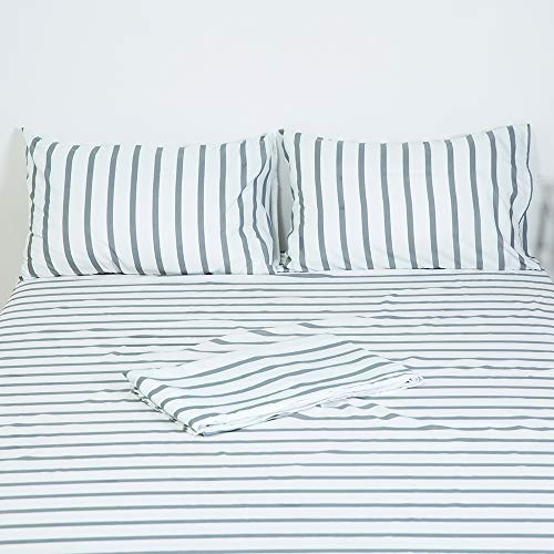 Homelike Collection 4 Piece Striped Bed Sheet Set Twin SizeWhiteGrey Classic Pattern Sheets 1 Flat Sheet1 Fitted Sheet And 2 Pillow CasesBrushed Microfiber Luxury Bedding With Deep Pockets 0 1