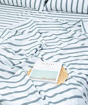 Homelike Collection 4 Piece Striped Bed Sheet Set Twin SizeWhiteGrey Classic Pattern Sheets 1 Flat Sheet1 Fitted Sheet And 2 Pillow CasesBrushed Microfiber Luxury Bedding With Deep Pockets 0 2 300x360