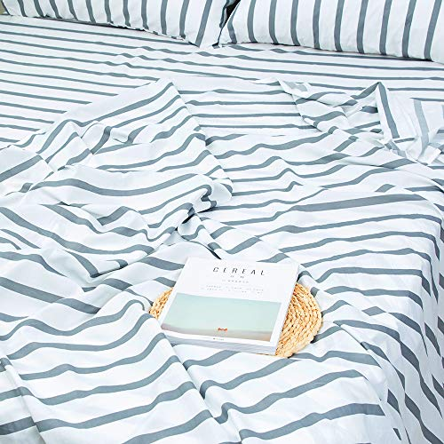 Homelike Collection 4 Piece Striped Bed Sheet Set Twin SizeWhiteGrey Classic Pattern Sheets 1 Flat Sheet1 Fitted Sheet And 2 Pillow CasesBrushed Microfiber Luxury Bedding With Deep Pockets 0 2