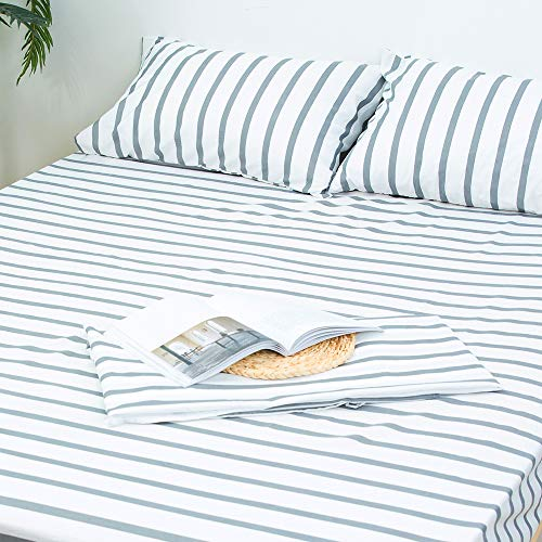 Homelike Collection 4 Piece Striped Bed Sheet Set Twin SizeWhiteGrey Classic Pattern Sheets 1 Flat Sheet1 Fitted Sheet And 2 Pillow CasesBrushed Microfiber Luxury Bedding With Deep Pockets 0
