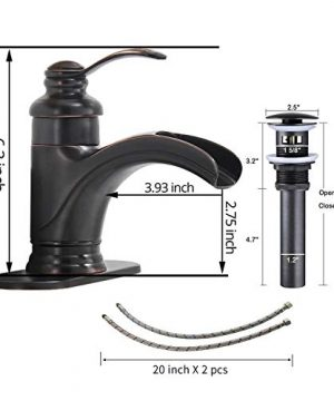 Homevacious Bathroom Faucet Oil Rubbed Bronze Waterfall Single Handle Lavatory Sink Basin Vanity Mixer Tap With Pop Up Drain Stopper With Overflow Deck Mount Low Arc One Hole Commercial Supply Line 0 0 300x360