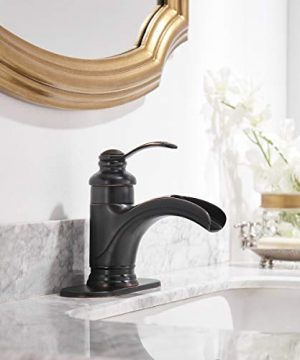 Homevacious Bathroom Faucet Oil Rubbed Bronze Waterfall Single Handle Lavatory Sink Basin Vanity Mixer Tap With Pop Up Drain Stopper With Overflow Deck Mount Low Arc One Hole Commercial Supply Line 0 1 300x360