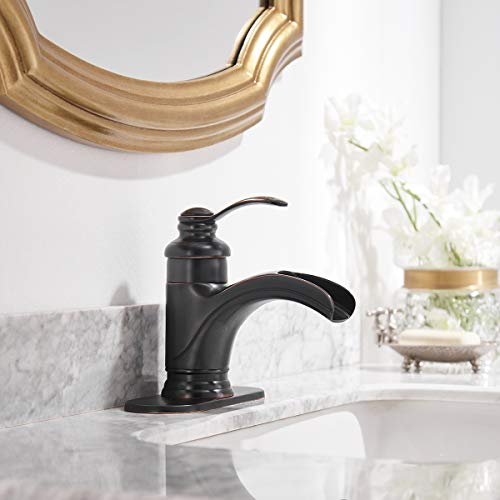 Homevacious Bathroom Faucet Oil Rubbed Bronze Waterfall Single Handle Lavatory Sink Basin Vanity Mixer Tap With Pop Up Drain Stopper With Overflow Deck Mount Low Arc One Hole Commercial Supply Line 0 1