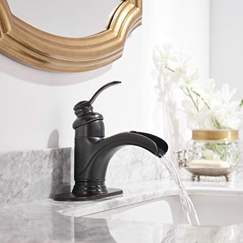 Homevacious Bathroom Faucet Oil Rubbed Bronze Waterfall Single Handle Lavatory Sink Basin Vanity Mixer Tap With Pop Up Drain Stopper With Overflow Deck Mount Low Arc One Hole Commercial Supply Line 0 2