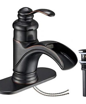 Homevacious Bathroom Faucet Oil Rubbed Bronze Waterfall Single Handle Lavatory Sink Basin Vanity Mixer Tap With Pop Up Drain Stopper With Overflow Deck Mount Low Arc One Hole Commercial Supply Line 0 300x360
