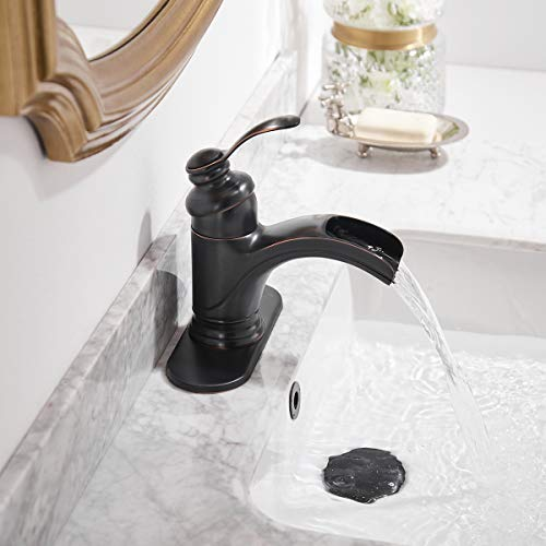 Homevacious Bathroom Faucet Oil Rubbed Bronze Waterfall Single Handle Lavatory Sink Basin Vanity Mixer Tap With Pop Up Drain Stopper With Overflow Deck Mount Low Arc One Hole Commercial Supply Line 0 5