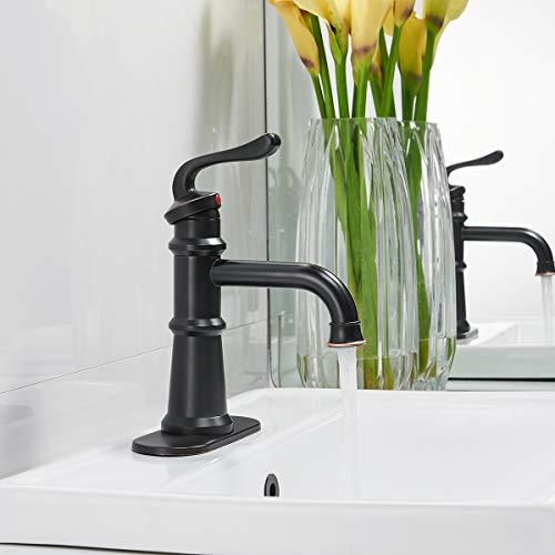 Homevacious Single Handle Bathroom Faucet Oil Rubbed Bronze Waterfall Black Long Goose Neck Spout With Pop Up Drain Bath Lavatory Sink Vanity Basin Contemporary One Hole Lever Mixer Tap Commercial 0 1
