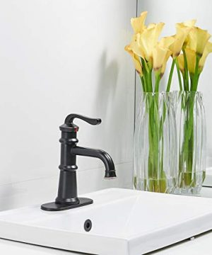 Homevacious Single Handle Bathroom Faucet Oil Rubbed Bronze Waterfall Black Long Goose Neck Spout With Pop Up Drain Bath Lavatory Sink Vanity Basin Contemporary One Hole Lever Mixer Tap Commercial 0 2 300x360