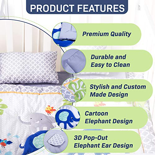Humble Home Products Nursery Bedding 6 Piece Baby BoyGirl Elephant Crib Set Greyblue 0 0