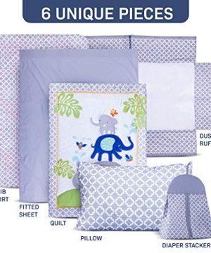 Humble Home Products Nursery Bedding 6 Piece Baby BoyGirl Elephant Crib Set Greyblue 0 300x360