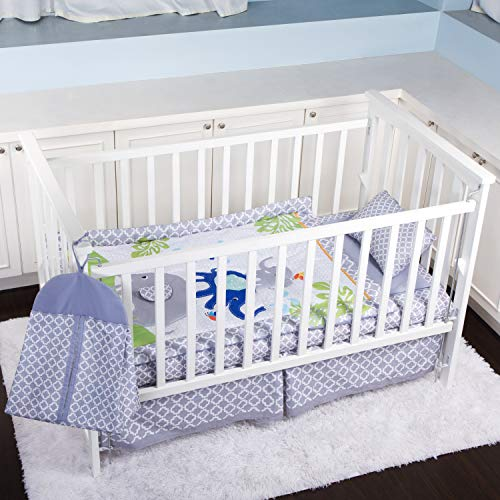Humble Home Products Nursery Bedding 6 Piece Baby BoyGirl Elephant Crib Set Greyblue 0 4