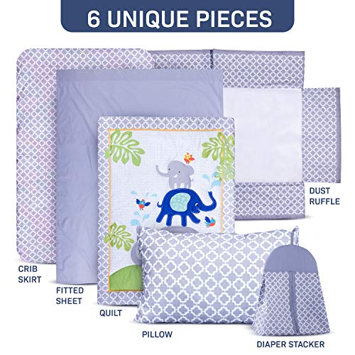 Humble Home Products Nursery Bedding 6 Piece Baby BoyGirl Elephant Crib Set Greyblue 0
