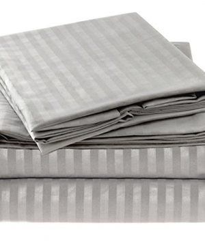 Ideal Linens Striped Bed Sheet Set 1800 Double Brushed Microfiber Bedding 4 Piece King Gray Silver 0 300x360