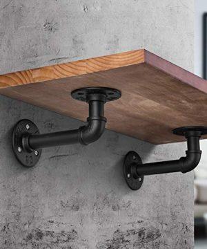 Industrial DIY Pipe Shelf BracketsVintage Black Iron Wall Mount Pipe Shelving Bracket Rustic Home Pipe Shelf6 Pack 0 2 300x360