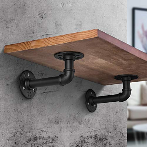 Industrial DIY Pipe Shelf BracketsVintage Black Iron Wall Mount Pipe Shelving Bracket Rustic Home Pipe Shelf6 Pack 0 2