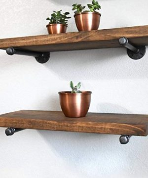Industrial Pipe Shelf Brackets 12 Inch Set Of 4 Rustic Floating Shelf Brackets With Iron Fittings Flanges And Pipes For Vintage Furniture Decor Wall Mounted DIY Bracket Garment Rack Hardware 0 3 300x360