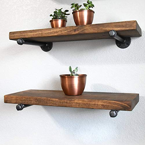 Industrial Pipe Shelf Brackets 12 Inch Set Of 4 Rustic Floating Shelf Brackets With Iron Fittings Flanges And Pipes For Vintage Furniture Decor Wall Mounted DIY Bracket Garment Rack Hardware 0 3