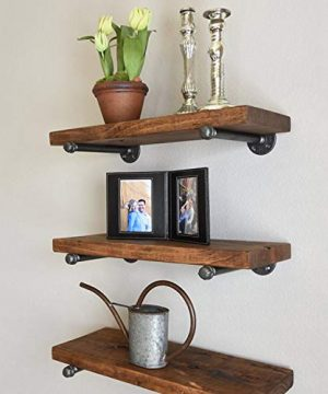 Industrial Pipe Shelf Brackets 12 Inch Set Of 4 Rustic Floating Shelf Brackets With Iron Fittings Flanges And Pipes For Vintage Furniture Decor Wall Mounted DIY Bracket Garment Rack Hardware 0 5 300x360