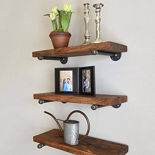 Industrial Pipe Shelf Brackets 12 Inch Set Of 4 Rustic Floating Shelf Brackets With Iron Fittings Flanges And Pipes For Vintage Furniture Decor Wall Mounted DIY Bracket Garment Rack Hardware 0 5