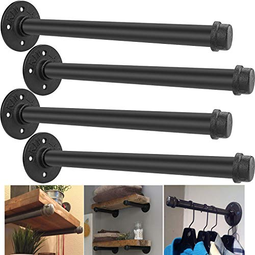 Industrial Pipe Shelf Brackets 12 Inch Set Of 4 Rustic Floating Shelf Brackets With Iron Fittings Flanges And Pipes For Vintage Furniture Decor Wall Mounted DIY Bracket Garment Rack Hardware 0