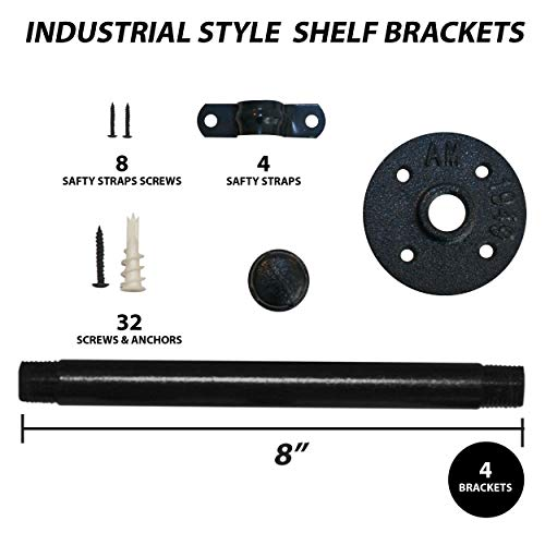 Industrial Pipe Shelf Brackets With Heavy Duty Screws Shelf Brackets 8 Inch Pipe Brackets For Shelving For Your Farmhouse Rustic Decor Iron Pipe Brackets For Shelving Industrial Pipe Shelving 0 1