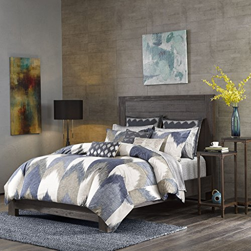 InkIvy Alpine Duvet Cover KingCal King Size Navy Taupe Ivory Pieced Chevron Duvet Cover Set 3 Piece 100 Cotton Light Weight Bed Comforter Covers 0 0