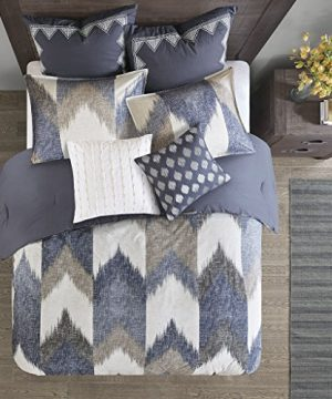 InkIvy Alpine Duvet Cover KingCal King Size Navy Taupe Ivory Pieced Chevron Duvet Cover Set 3 Piece 100 Cotton Light Weight Bed Comforter Covers 0 1 300x360