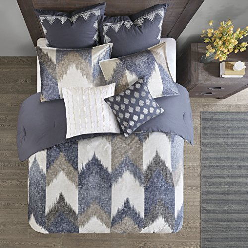 InkIvy Alpine Duvet Cover KingCal King Size Navy Taupe Ivory Pieced Chevron Duvet Cover Set 3 Piece 100 Cotton Light Weight Bed Comforter Covers 0 1