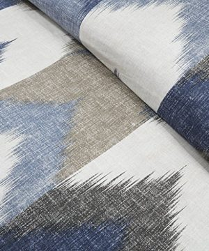 InkIvy Alpine Duvet Cover KingCal King Size Navy Taupe Ivory Pieced Chevron Duvet Cover Set 3 Piece 100 Cotton Light Weight Bed Comforter Covers 0 2 300x360
