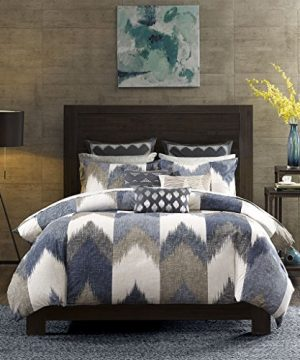 InkIvy Alpine Duvet Cover KingCal King Size Navy Taupe Ivory Pieced Chevron Duvet Cover Set 3 Piece 100 Cotton Light Weight Bed Comforter Covers 0 300x360