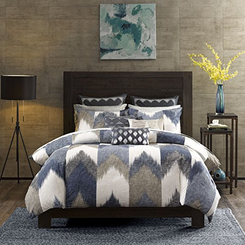 InkIvy Alpine Duvet Cover KingCal King Size Navy Taupe Ivory Pieced Chevron Duvet Cover Set 3 Piece 100 Cotton Light Weight Bed Comforter Covers 0
