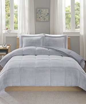 Intelligent Design Carson Ultra Soft Reversible Frosted Print Plush To Yarn Dyed Heathered Microfiber Comforter Set FullQueen Grey 0 300x360