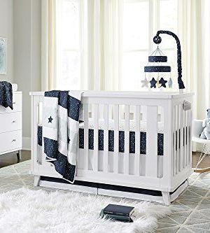 Ivanka Trump Stargazer Collection 4pc Nursery Bedding Baby Crib Bedding Set Blue Stars Galaxy Crib Bedding With Blue Plush Bear 0 300x333